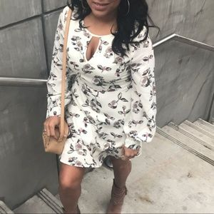 Floral Long Sleeve Mini Dress with Keyhole Front